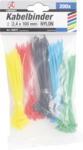 200-piece Cable Tie Assortment, 2.4 x 100 mm, 5 colors