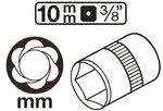 Special Socket / Screw Extractor (3/8) Drive 10-19mm