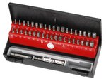 Bit set with bore hole shank guide 42-piece