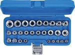 Socket Set, E-Type 6.3 mm (1/4) / 12.5 mm (1/2) Drive E4 - E24 28 pcs