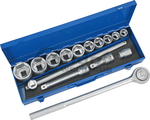 Socket Set, 15 pcs., 3/4, hex 19-50 mm
