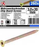 Multi-Purpose Screws, 3,0 x 20 mm, T10, 260 pieces