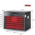 Glory red & black 10-drawer top chest (glossy paint)