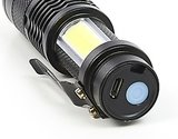 Torch mini 2xCOB LED with adjustable focus, rechargeable_