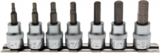 7-piece Bit Socket Set, Internal Hexagon, 3/8_