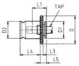Tap head with slip coupling DIN376 M20_