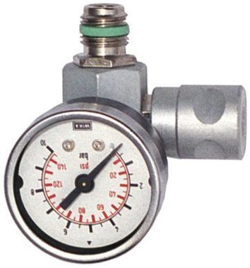 Pressure regulator inline with pressure gauge