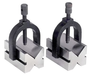 Pair of v-blocks diameter 42 mm - adjustable clamping brackets