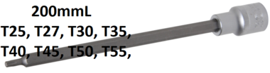 Bit Socket length 200 mm 12.5 mm (1/2) Drive T-Star (for Torx)