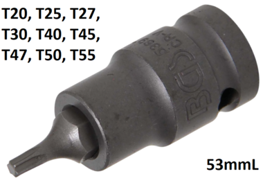 Impact Bit Socket (1/2) Drive T-Star (for Torx)