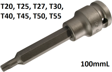 Impact Bit Socket length 100mm (1/2) Drive T-Star (for Torx)