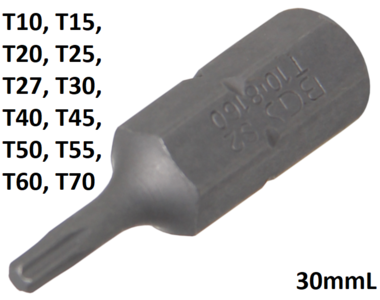 Bit (5/16) external hexagon T profile (for Torx)