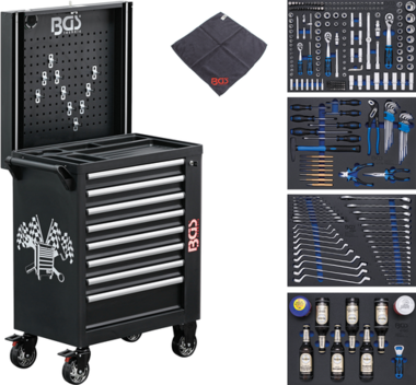 Workshop Trolley 8 Drawers with 263 Tools