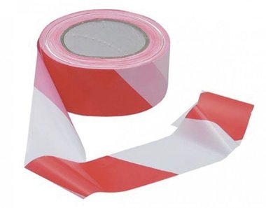 Tape outlet red-white 80mm