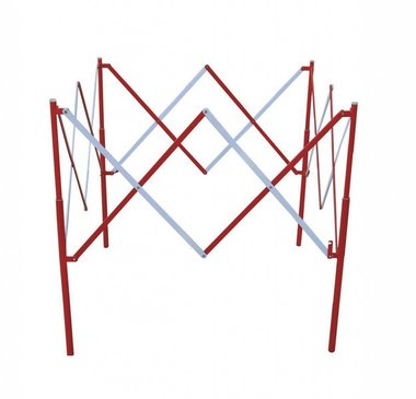 Metal square scissor fence Red/white