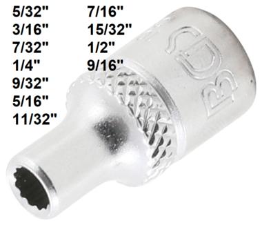 Socket, 12-point (1/4) Drive 5/32 - 9/16