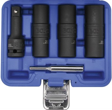 Special Impact Double-Sided Socket Set / External Hexagon & Screw Extractors 17 - 19 - 21 mm (1/2) 3-tlg