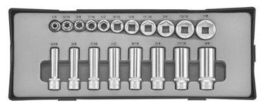 3/8 Flank socket set SAE 19pc