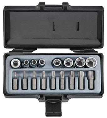 Star tamperproof socket & bit set 17pc