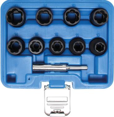 Twist Socket Set (Spiral Profile) / Screw Extractor (1/2) Drive 10 - 19mm 10 pcs