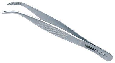 Tweezers bent/grooved 125mm
