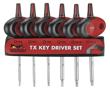 Screwdriver set TX with T-handle 6-piece