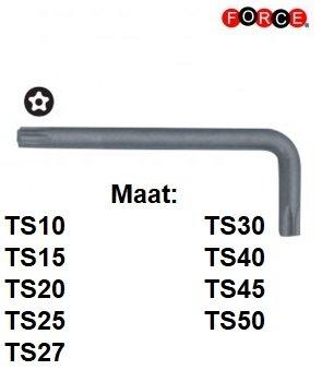 Right-angled Torx TS 5-side key set