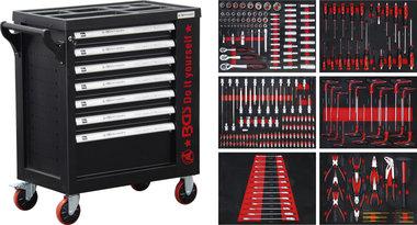 Workshop Trolley 7 Drawers 1 Side Door with 250 Tools