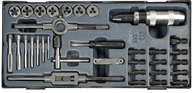 Cutting plates and impact screwdriver set 33-piece tap