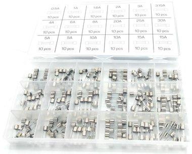 Assortiment Quick Blow Glass Fuse 0,5A- 15A 180 Pcs