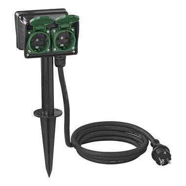 Garden socket Schuko 4-way 2M 3x2.5mm²