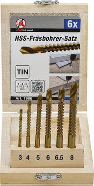 6-piece HSS Milling Cutter Set, 3-8 mm