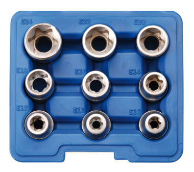 Socket Set, E-Type 12.5 mm (1/2) drive E10 - E24 9 pcs.
