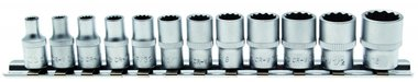12-piece Socket Set, 12-point, 1/4, in INCH