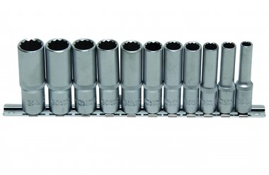 11-piece Deep Socket Set, 12-pt., 3/8