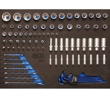 3/3 Tool Tray for Workshop Trolleys: 90-piece Sockets and Combination Spanner