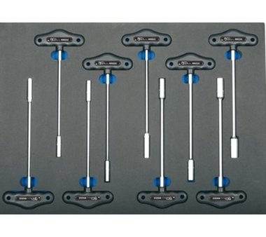 3/3 Tool Tray for Workshop Trolleys: 9-piece T-Handle Socket Wrench