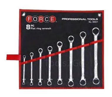 Flat ring wrench set 8pc