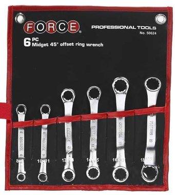 Midget 45° offset ring wrench set 6pc
