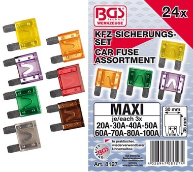 24-piece Automotive Maxi Fuse Set