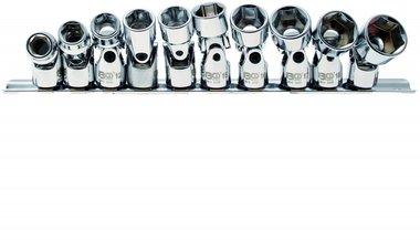 Universal Joint Socket Set, Hexagon 10 mm (3/8) drive 10 - 19 mm 10 pcs