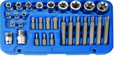 Bit and Socket Set | E-Type / T-Star (for Torx) | 30 pcs.