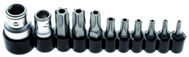 Bit Set   10 mm (1/4) / 10 mm (3/8) drive   T-Star tamperproof (for Torx)   11 pcs.
