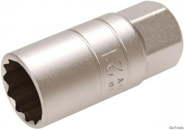 Spark Plug Socket with Rubber mount, 12-point (1/2) Drive 21mm