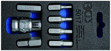 Screwdriver Bit Set | 10 mm (3/8) drive | internal Hexagon | 7 pcs.