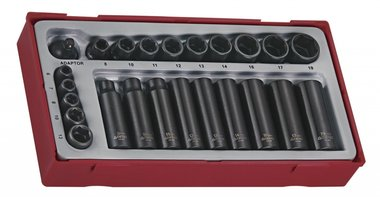 Impact sockets set 1/4 & 3/8 tc-tray 24pcs