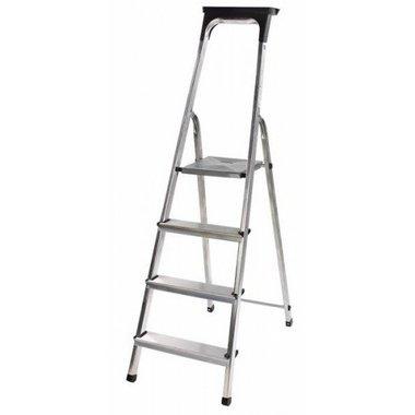 Aluminium household ladder with tool tray 4 rungs Platform height 0.8m