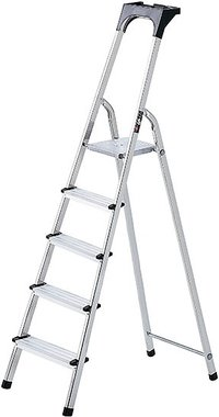 Aluminium household ladder with tool tray 7 rungs Platform height 1.5m