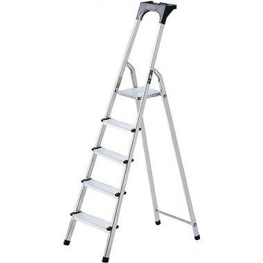 Aluminium household ladder with tool tray 6 rungs Platform height 1.19m