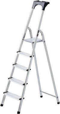 Aluminium household ladder with tool tray 5 rungs Platform height 0.97m